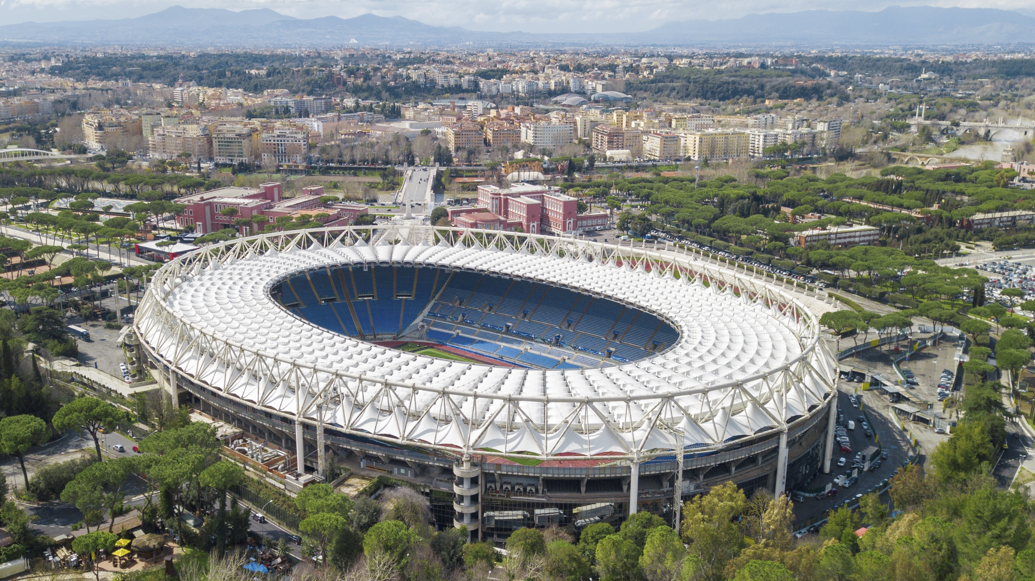 Aerial view of the Olympic Stadium in Rome, Italy. On this field are played the matches of Serie A of Rome, Lazio and matches of the Italian national team of football and rugby.